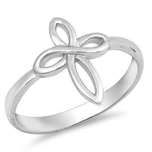 Silver CZ Ring - Cross - $3.67