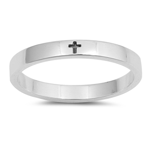 Silver Ring - Little Engraved Cross - $3.15