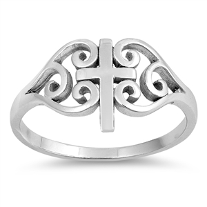 Silver CZ Ring - Medieval Cross - Start $3.02