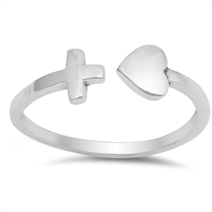 Silver Ring - Heart and Cross - $2.65