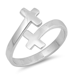 Silver CZ Ring - Double Cross - $4.36