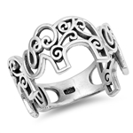 Silver CZ Ring - Filigree Elephants - $5.38