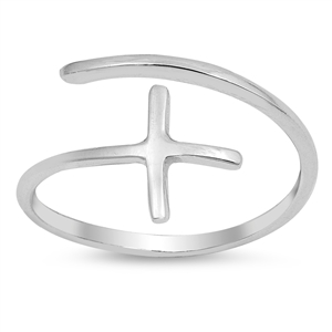 Silver CZ Ring - Wraparound Cross - $2.78