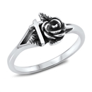 Silver Ring - Rose and Cross - $3.79