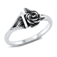 Silver Ring - Rose and Cross - $4.77