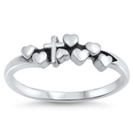 Silver Ring - Hearts and Cross - $2.79