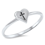 Silver Ring - Cross in Heart - $2.02
