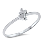 Silver Ring - Heart and Cross - $2.02