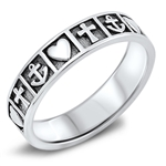 Silver Ring - Anchor, Cross, Heart - $4.52