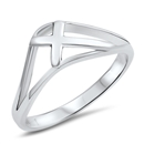 Silver Ring - Tilted Cross - $2.90