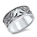 Silver Ring - Dove and Leaves - $7.94