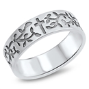 Silver Ring - Cross and Vines - $5.15