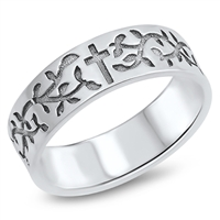 Silver Ring - Cross and Vines - $7.49