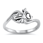 Silver Ring - Heart, Key, and Cross - $3.92