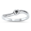 Silver Ring - Heart Cross - $3.05