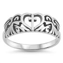 Silver Ring - Cross in Heart - $4.54