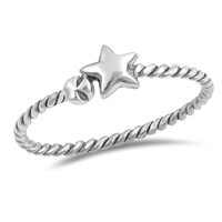 Silver Ring - Star Rope Band - $1.89