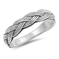 Silver Ring - Intricate Braided Band - $6.97