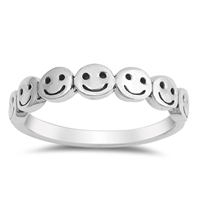 Silver Ring - Smiley Faces - $4.00