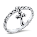 Silver Ring - Dangling Cross Rope Band - $3.70