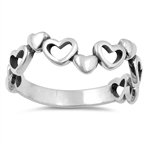 Silver Ring - Hearts - $3.48