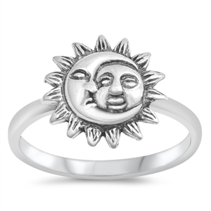 Silver Ring - Sun and Moon - $3.94