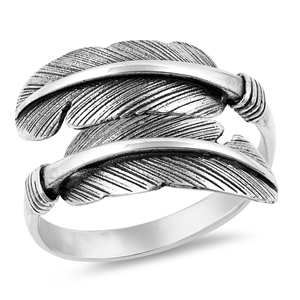 Silver Ring - Feathers - $5.78