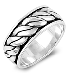 Silver Spinner Ring - Rope Band - $15.38