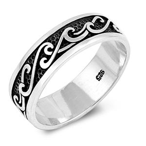 Silver Ring - Wave Band - $6.39