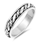 Silver Spinner Ring - Rope Band - $7.21