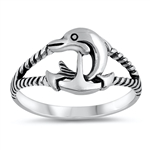 Silver Ring - Dolphin Anchor - $3.38