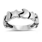 Silver Ring - Moon & Stars - $5.11