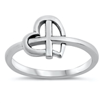 Silver Ring - Heart & Cross - $3.39