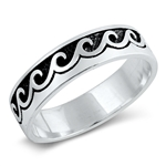 Silver Ring - Wave Band - $5.7