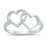 Silver Ring - Linking Hearts - $3.63