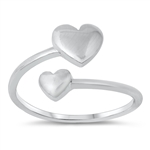 Silver Ring - Double Hearts - $3.90