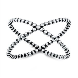 Silver Ring - Criss Cross - $3.87