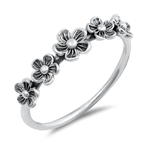 Silver Ring - Flowers - $2.90