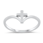 Silver Ring - Cross V - $2.70