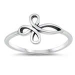 Silver Ring - Sideways Cross Loop - $2.45