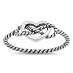 Silver Ring - Heart Rope - $2.26