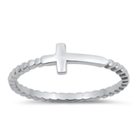 Silver Ring - Litte Sideways Cross - $2.20