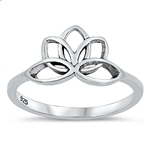 Silver Ring - Lotus Flower - $2.75