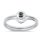 Silver Ring - Little Pine Tree Set - $3.54