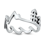 Silver Ring - Mountains, Trees, Waves - $3.86