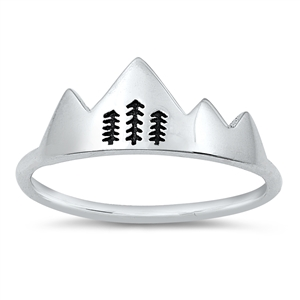 Silver Ring - Mountains with Trees - $3.14