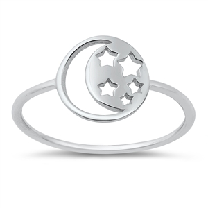 Silver Ring - Moon and Stars - $2.31