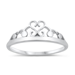 Silver Ring - Heart Crown - $2.39