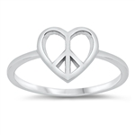 Silver Ring - Heart Peace - $2.55