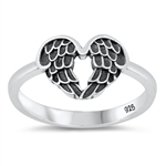 Silver Ring - Heart Wings - $3.62
